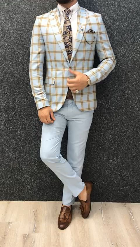 Marc Coffee Blue Suit with Brown Vest