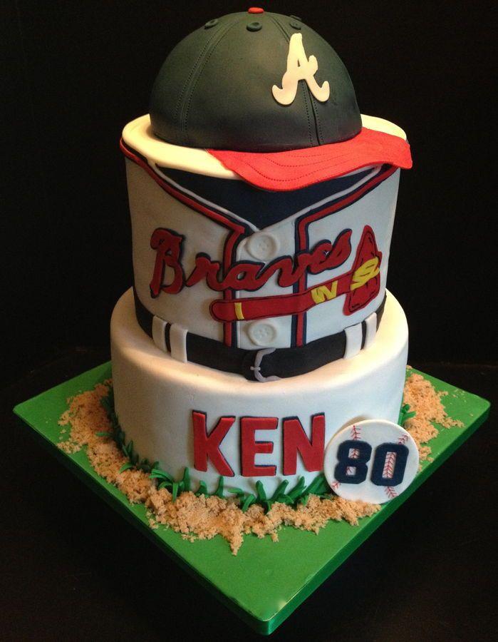 Atlanta Braves baseball birthday cake. Cap is done with the wilton sport ball pan. All fondant.