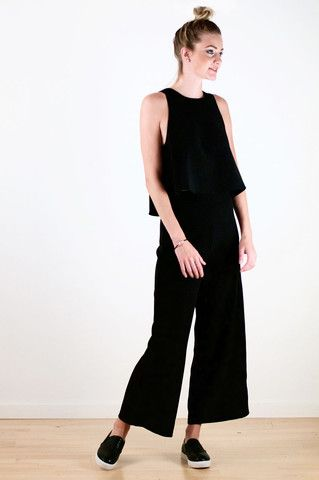 Black Flowy Top & Pants Set