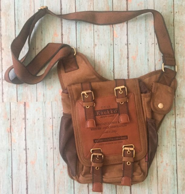 Kaukko Men's Crossbody Messenger Bag Brown Satchel Book Tote Rustic Man Purse | eBay