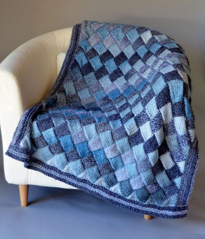 """Free Knitting Pattern for Woven Sky Throw - Entrelac afghan knit in 2 different colorways of variegated yarn. 42″ x 31¼"""". Bulky yarn. Designed byUniversal Yarn"""
