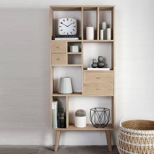 Bibliothèque en chêne naturel avec 9 niches et 4 tiroirs Hübsch : Decoclico