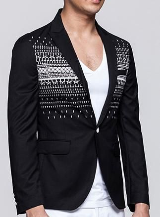 Attractive Black Blazer With Fashionable White Geometric Pattern. #mens #luxury #fashion #BLAZER #BLAZERFORMEN #BLAZERfashion #menBLAZER #BLAZERTrend #pilaeo #officalBLAZER #travelBLAZER