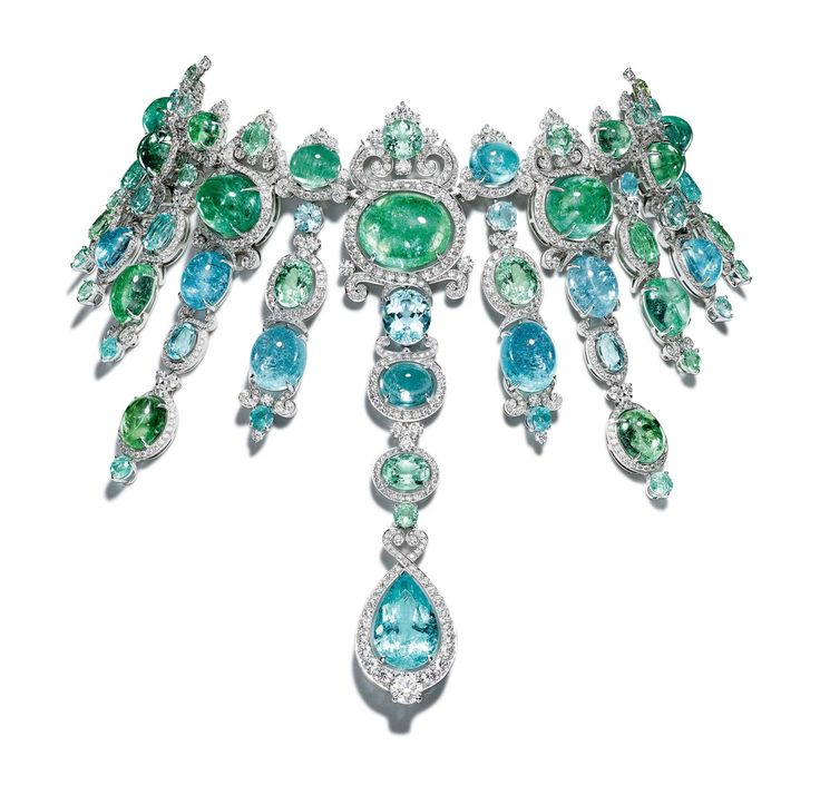 Gem Palace | Giampiero Bodino Barocco Necklace | In this necklace, African Paraiba tourmalines—326.21 carats worth, to be exact—are surrounded by white gold and diamonds. | W Magazine