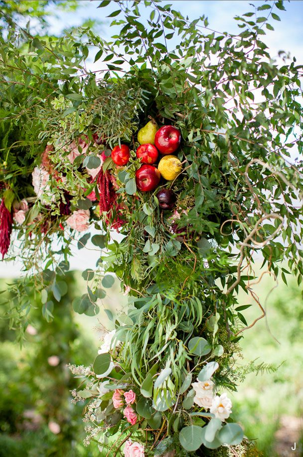 Floral Arch Featuring Fruit as an accent