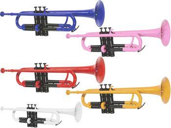 送料無料プラスチックトランペット新品管楽器本体B♭マウスピースソフトケースセットカラーレッドブルーイエローピンクホワイト