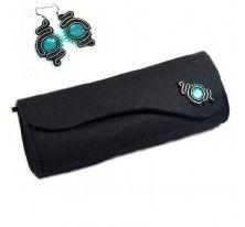 kolczyki sutasz,soutache earrings,torebka z filcu,kopertówka z filcu,kopertówka sutasz