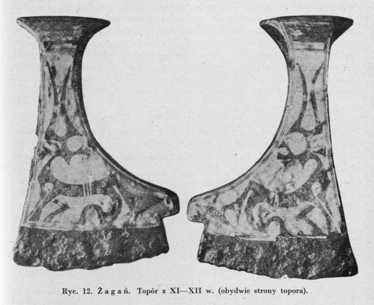 """Axe find from Żagań, Poland / 11th-12th century Source: Wanda Tarnowska: """"Topory wczesnośredniowieczne z obszaru Śląska"""", Światowit 24, 1962"""