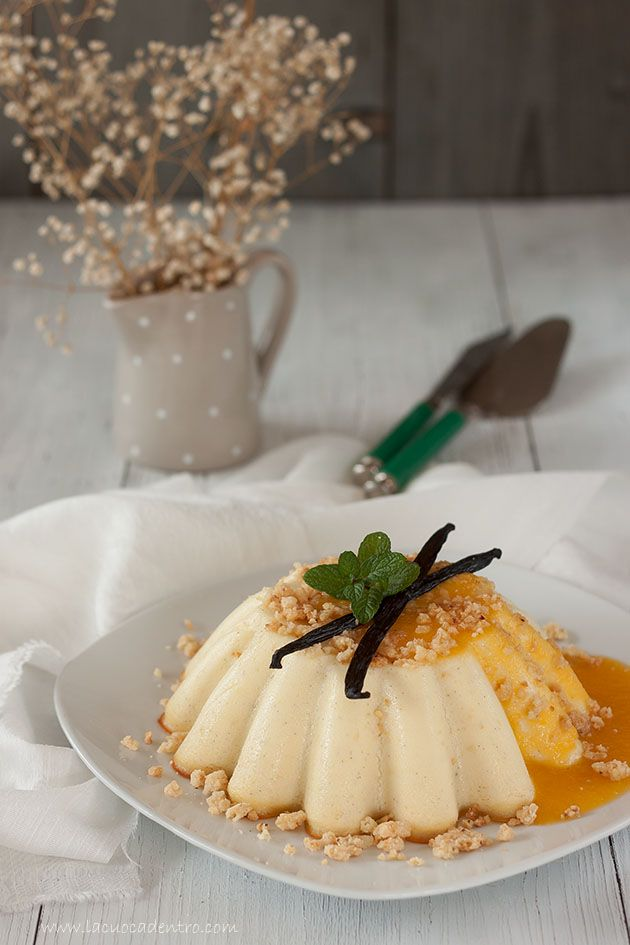 ricotta pudding with hazelnut streusel mango salsa