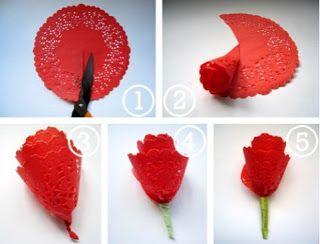 Ideas y material gratis para fiestas y celebraciones Oh My Fiesta!: Tutorial para hacer flores con blondas de papel. Decoración.
