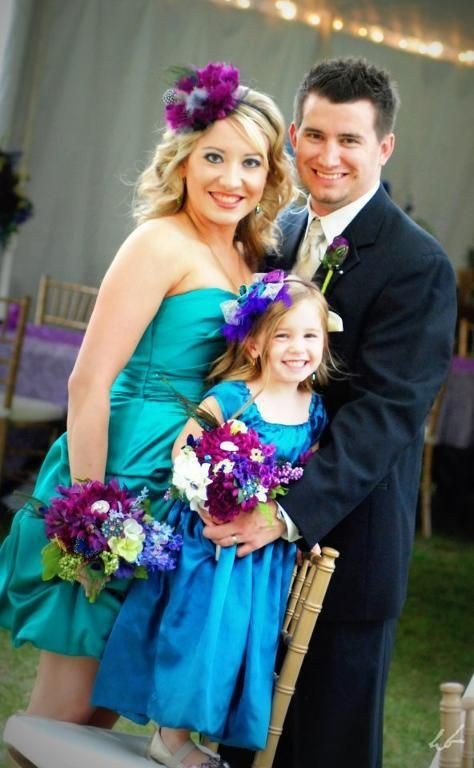 Flower girl dress for Peacock themed wedding.    - Maria how funny. Is this not the exact color of the bridesmaid dresses AND Ava's dress?