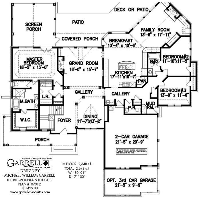Big mountain lodge b house plan 07012 1st floor plan for Big ranch house plans