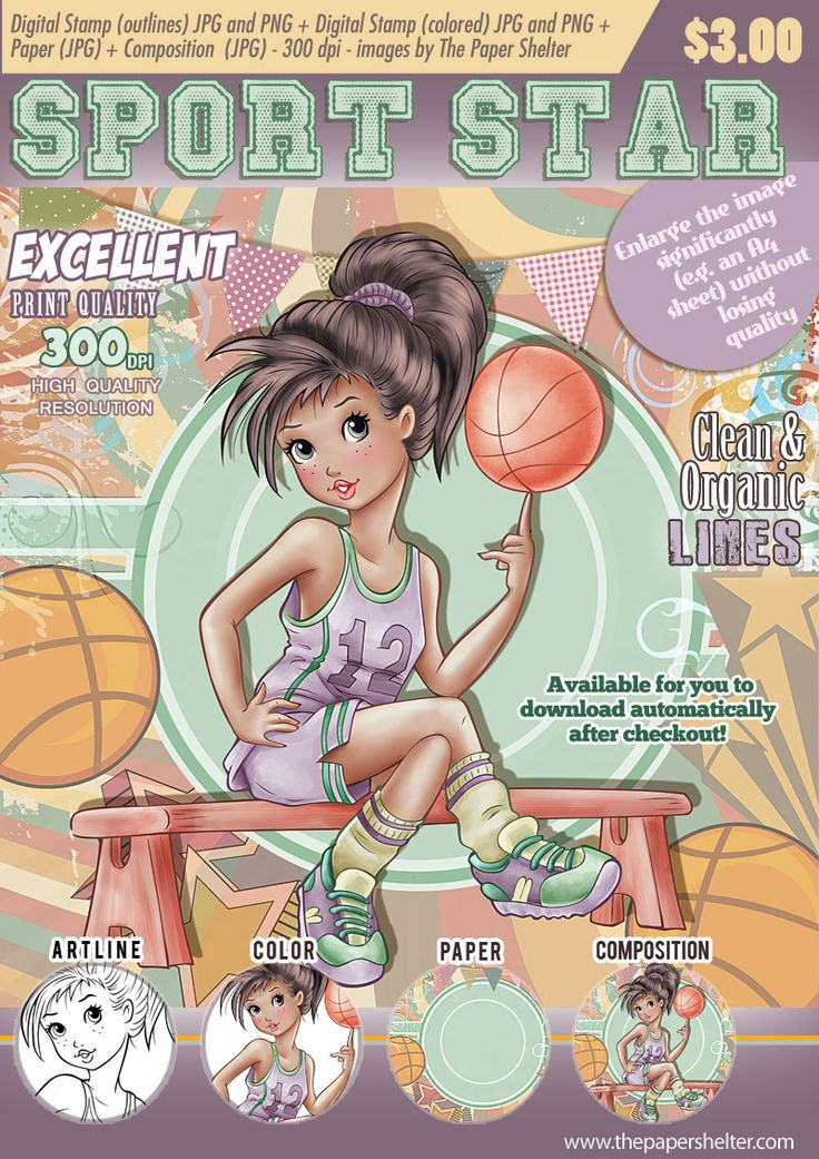 Sport Star Digital Stamp Digital stamps, Digi stamps