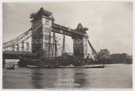 Tower Bridge under construction, c 1894.