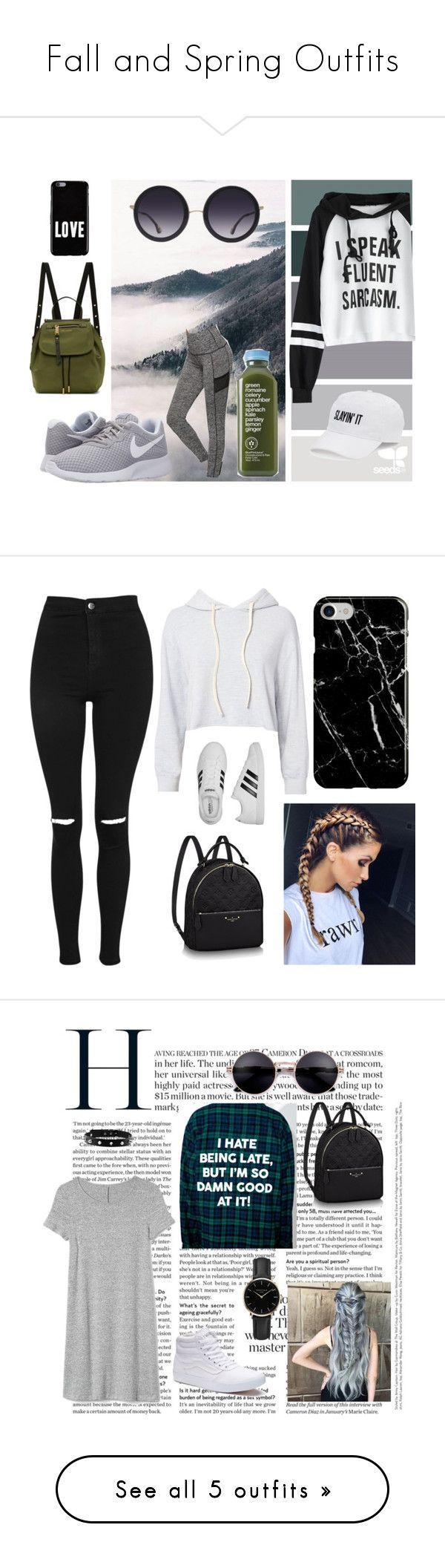 """""""Fall and Spring Outfits"""" by lilmainella on Polyvore featuring NIKE, Marc Jacobs, SO, Givenchy, Alice + Olivia, Topshop, Monrow, adidas, Recover and Gap"""