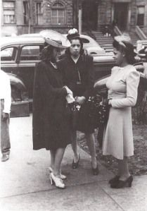 Young women of the past wearing Crowns to Church.