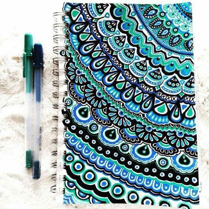 Zentangle design, cute blue notebook