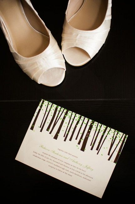 Shoes and wedding invitation - by Destiny Photography