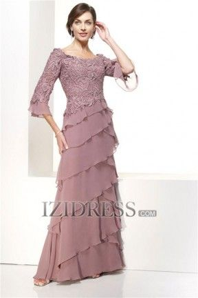 A-Line Princess High Neck Chiffon Mother Of The Bride Dresses - IZIDRESS.com