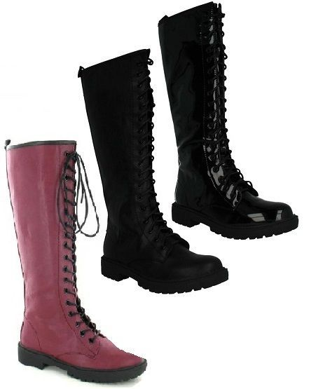 LADIES KNEE HIGH BOOTS. BLOCK LOW HEEL. LADIES BOOTS. ZIP UP. LACE UP. ROUND TOE. COLOUR - BLACK PU, BLACK PATENT AND BURGUNGY. UPPER MATERIAL - SYNTHETIC. | eBay!