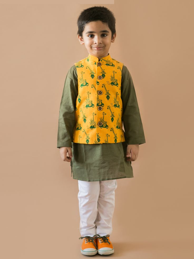 Buy 3 Pc Mustard Jungle Print Nehru Jacket Kurta Set