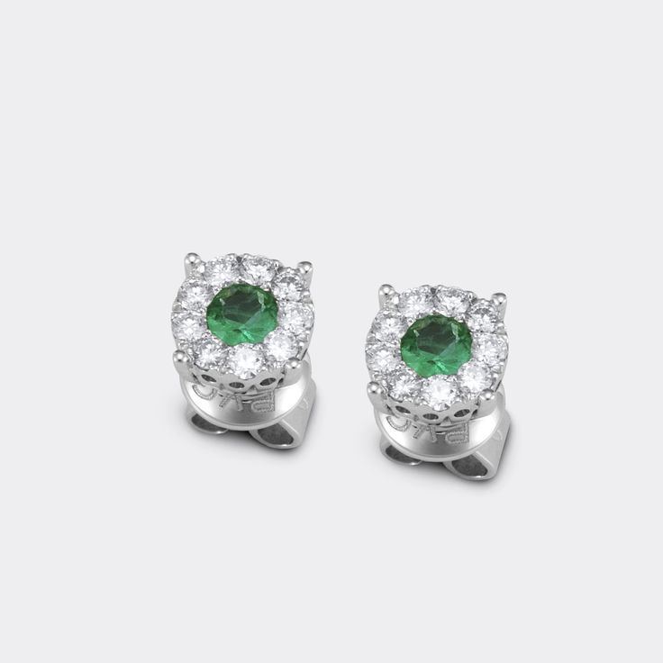Earrings from artemide collection, ponte vecchio gioielli, White gold with diamonds and emeralds