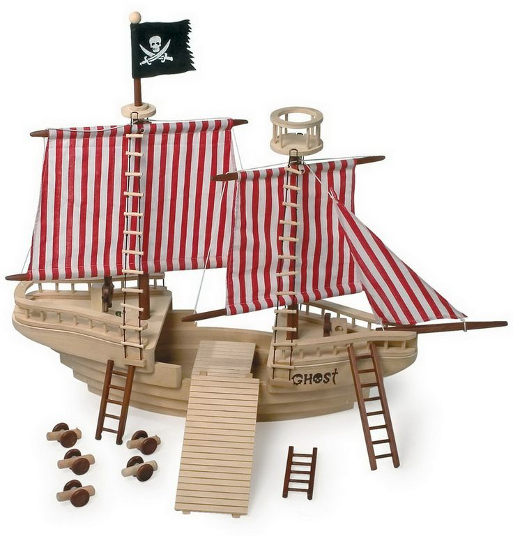 Piratenschiff. Alles klar zum Entern! Das große und massive Holzpiratenschiff inklusive sechs Figuren, Kanonen und Leitern bietet den ganz großen Spielspaß für junge Piraten. Ob an Deck, auf dem Aussichtsturm oder hinter dem Steuerrad, dieses riesige Piratenschiff macht Lust auf Piratenabenteuer auf hoher See und bietet durch seine enorme Größe ein Maximum an Platz zum Spielen! Alles an Deck und hisst die Segel!