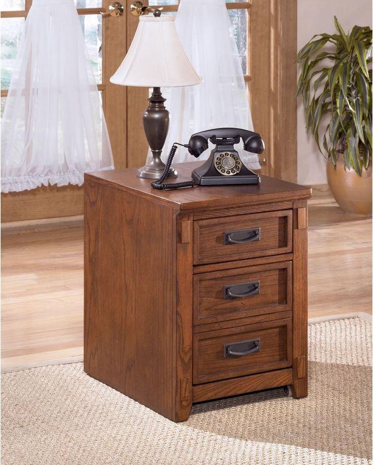 File Cabinet Drawer Durable Storage Brown Vintage Metal Wood Veneer  Furniture