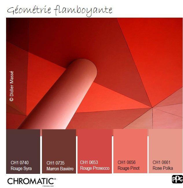 Une somptueuse palette de camaïeux de #rouges pour jouer sur les volumes d'une #pièce à vivre par exemple. www.chromaticstore.com