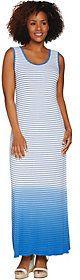 Lisa Rinna Collection Regular Dip Dye Striped Knit Maxi Dress