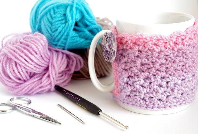 CocoFlower - DIY, Créations, Tuto, Crafts, Crochet, Handmade: DIY Cozy Mug Cover ou le couvre tasse confortable ...