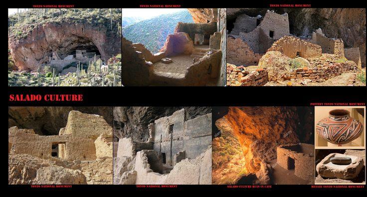 Tonto National Monument, abitazioni rupestri sono state edificate dalle popolazioni della cultura Salado tra il  1150 e il 1450. Qui vivevano d'agricoltura e completato la loro dieta con la caccia e la raccolta. I Salado erano artigiani raffinati, produttori di ceramiche policrome e bei tessuti.