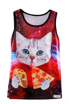 $8.69 Free Shipping Worldwide for Womens Sleeveless Mesh Pizza Cat Print Tank Top Red, on sale now at our lowest price ever! Shop PinkQueen.com, the sexy way to save.