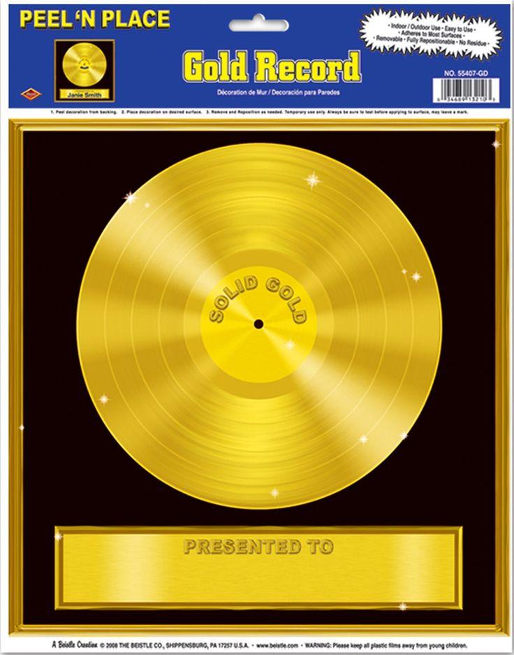 1 Decorazione murale a forma di disco d'oro su VegaooParty, negozio di articoli per feste. Scopri il maggior catalogo di addobbi e decorazioni per feste del web,  sempre al miglior prezzo!