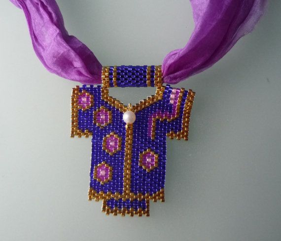 Purple necklace Turkish Silk Necklace by omes37 on Etsy, $35.00