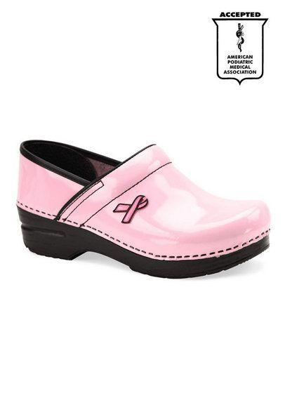 pink nursing clogs | Dansko Professional Pink Ribbon patent nursing clogs.