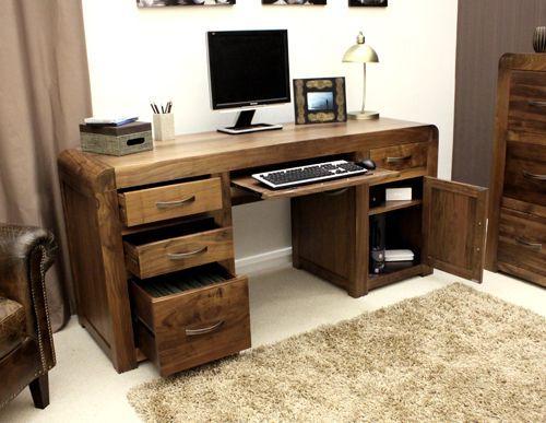 Shiro Walnut Twin Pedestal Computer Desk #wood #furniture #livingroom #lounge #bedroom #office #study #hallway #modern #contemporary #minimalist #interior #home #decor #interiorinspiration #computer #desk