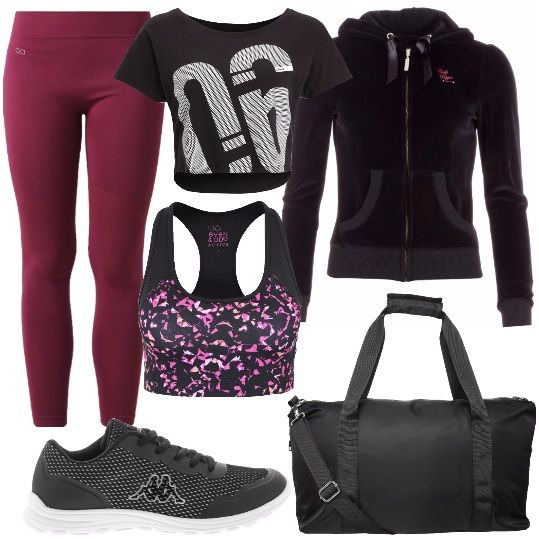 Un kit da vera sportiva composto da: felpa con cappuccio, in velluto, davvero alla moda, T-shirt corta, con stampa, collant traspiranti, sportivi, sneakers basse, borsone per lo sport nero.