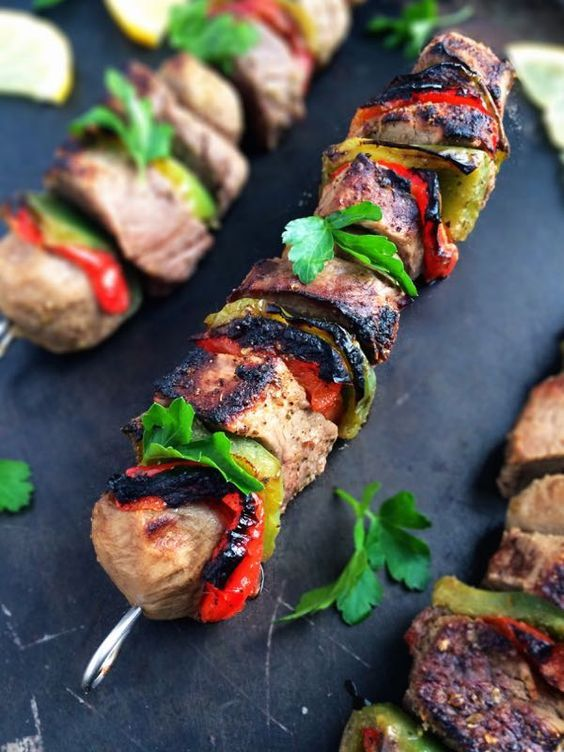 Souvlaki Beef Kabobs - Nothing better than a time-consuming and easy grilling recipe for the summer!