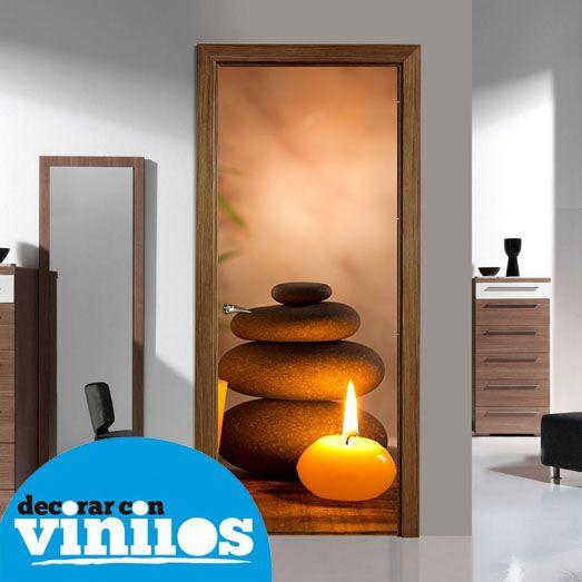 Vinilo para puerta piedras y velas para spa http www for Vinilos decorativos salon