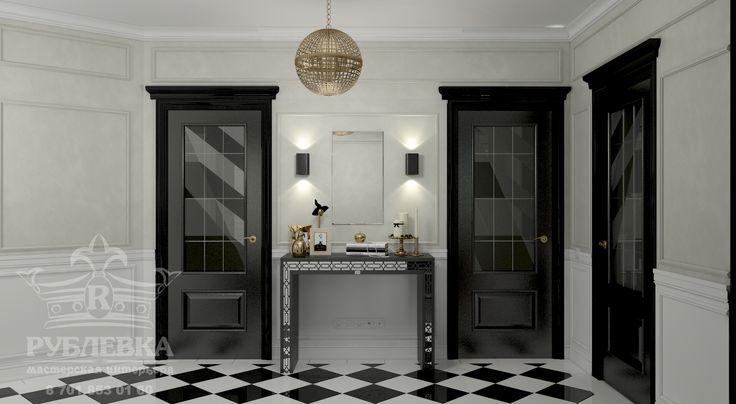 прихожая. Интерьер в стиле арт Деко. Черные двери в интерьере Бра черные. Дверь со стеклом. Черно-белый пол. Плитка керамическая. Керамогранит. Шахматный пол. Молдинги на стенах.