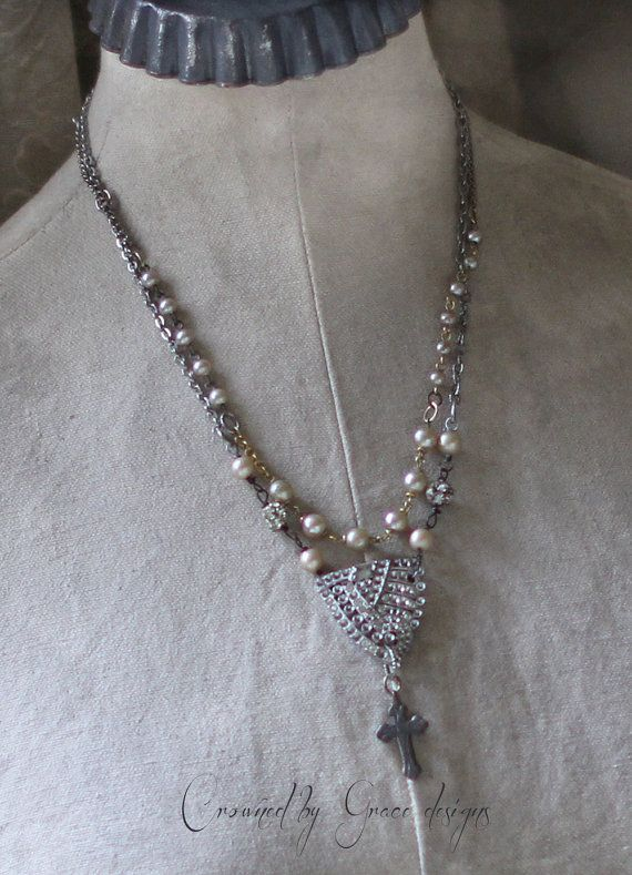 Love Divine~vintage assemblage necklace one of a kind art deco shoe clip cross rosary chain crowned by grace