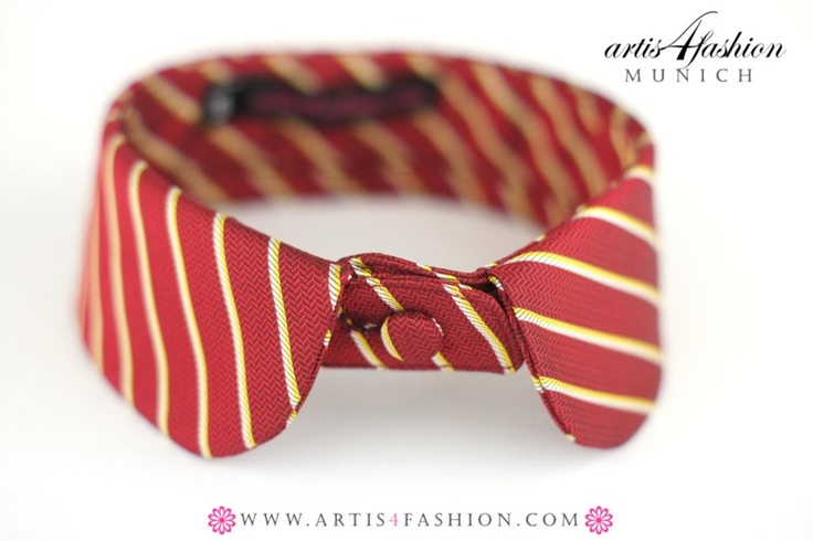 K08_collar made from recycled mens tie - pure silk!