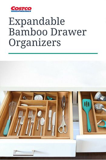 f2164b492ca Seville Classics 2-piece Expandable Bamboo Drawer Organizer will tidy up  drawers in your home. Expandable