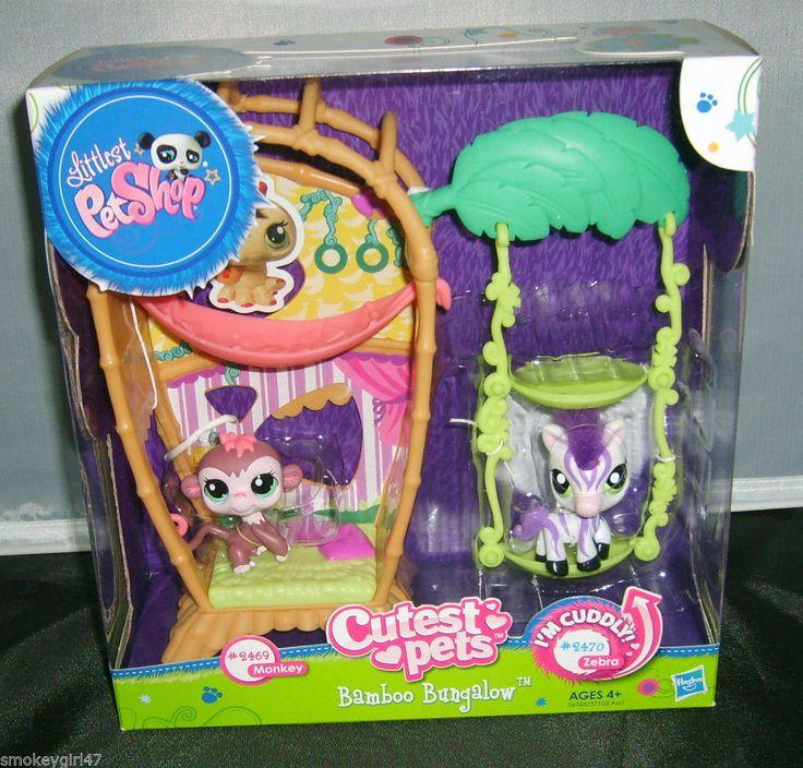 Littlest Pet Shop Cutest Pets Bamboo Bungalow Set #2469 #2470 Monkey, Zebra NEW #Hasbro