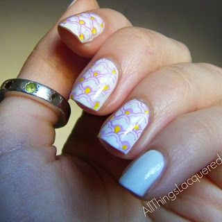 All Things Lacquered: Purple and white clouds with yellow details