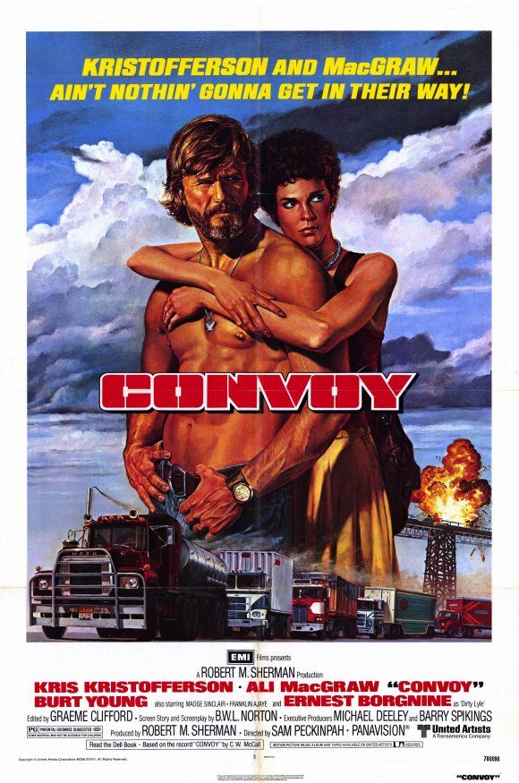 CONVOY (1978) - Kris Kristofferson - Ali MacGraw - Burt Young - Ernest Borgnine - Directed by Sam Peckinpah - United Artists - Movie Poster.