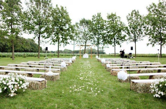 seating forest wedding woods haybales - Google Search