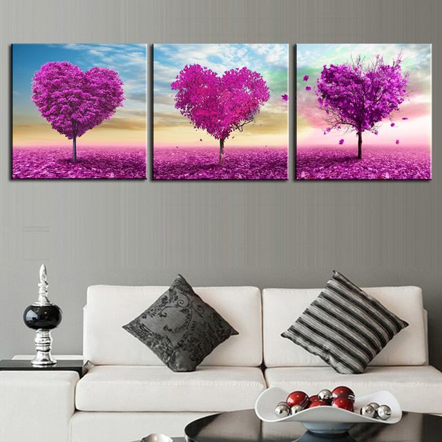 2016 New Sale Cuadros Paintings Unframed 3 Sets Canvas Painting Loving Trees Wall Pictures For Living Room Large Hd Modular Oil