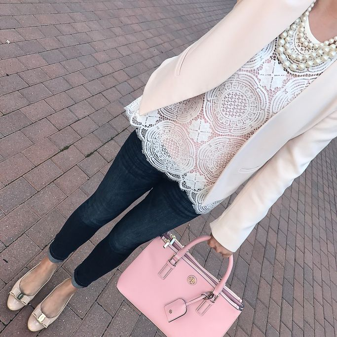 Ferragamo Vara pumps, medallion lace top, petite molly blush pink blazer, Tory Burch mini Robinsin tote in rose pink, business casual outfit idea, petite fashion blog, fall outfit, spring outfit, winter outfit, faux pearl necklace - click the photo for outfit details!
